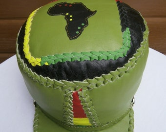 Unique bright lime green leather Rasta crown hat with Africa outline