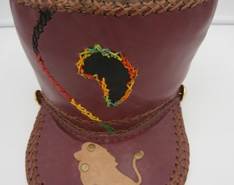 Leather Rasta crown hat with Africa and lion