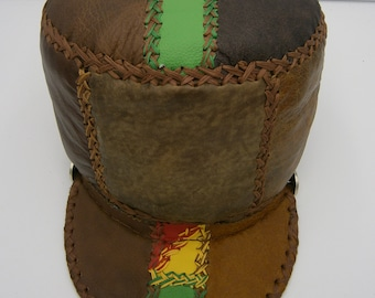 Stretch to fit Rasta crown in brown, red, yellow and green leathers