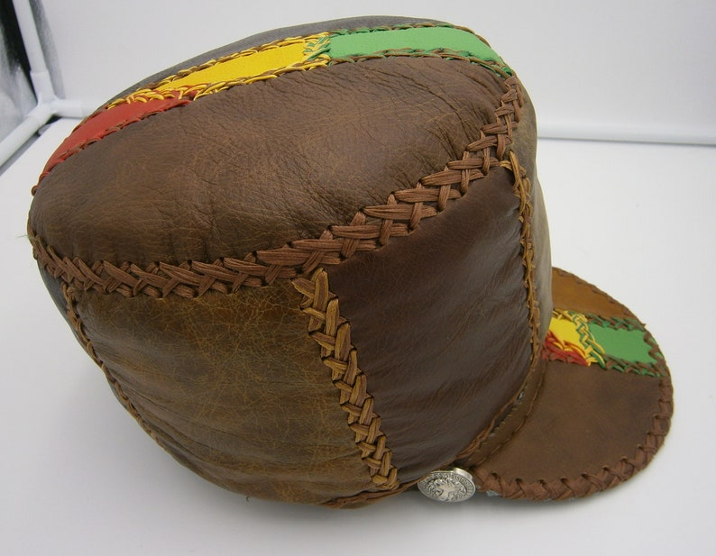 yellow and green leathers red Stretch to fit Rasta crown in brown