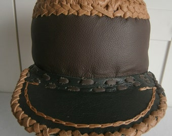 Leather Rasta hat in dark brown, green and light brown