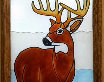 Window Art, Faux Stained Glass, White Tailed Deer, Buck, Sun Catcher, Hunting, Country, Wildlife, Gift, Guy, Father, Dad, Son, Doe, Den