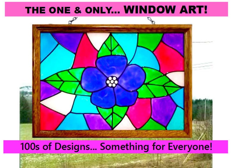 Hand Painted Faux Stained Glass Flower Window Art Flower Etsy