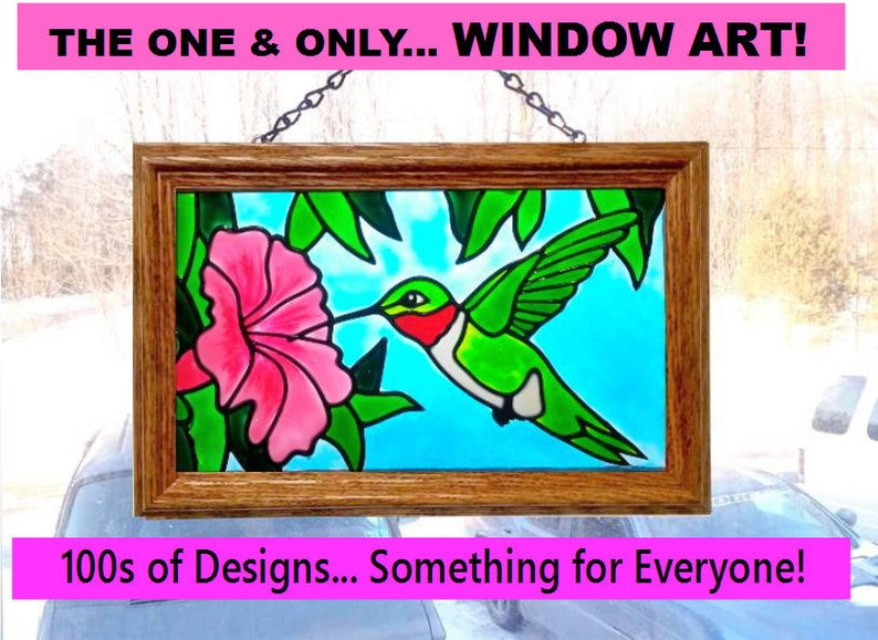 Hand Painted Faux Stained Glass Hummingbird Bird Decoration Etsy
