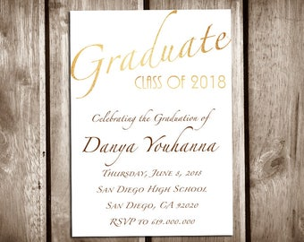 printable graduation announcementhigh school graduation invitation templatecollege graduationclass of 2018graduation announcementgold