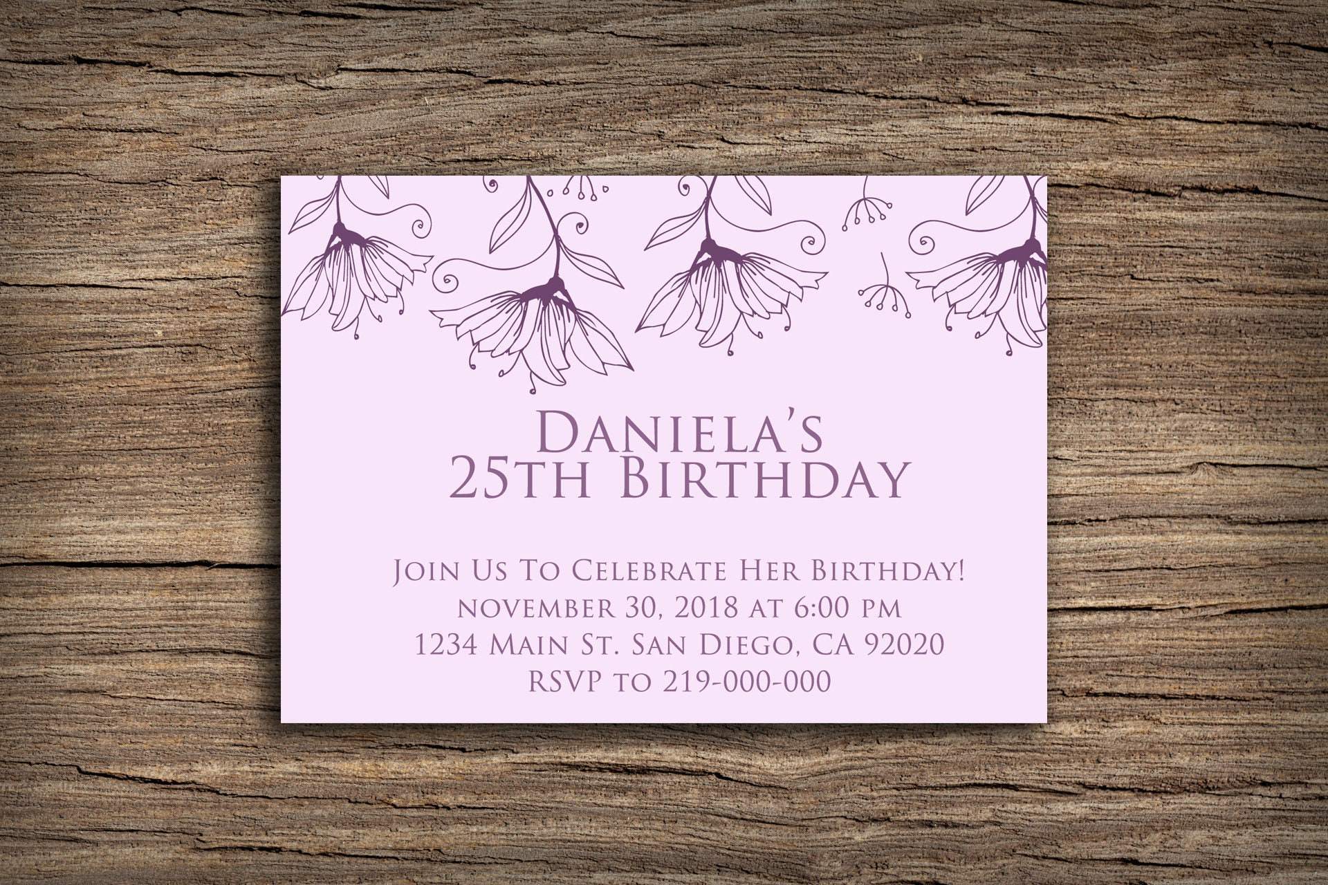 Printable Birthday Invitation Card Purple Flowers