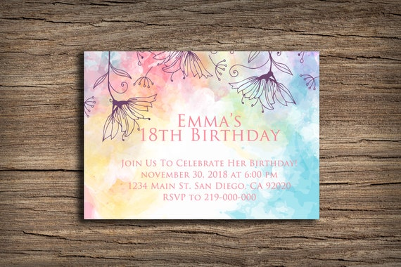 Printable Birthday Invitation Card Watercolor Background And Purple Flowers Pink Purple Blue Yellow Colorful Happy Birthday Card 5x7