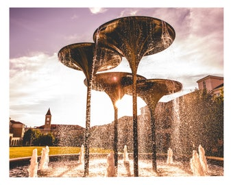 TCU Frog Fountain under a purple sunset, Texas Christian University by TayStan Photography, 5x7 and 8x10, Matte Print