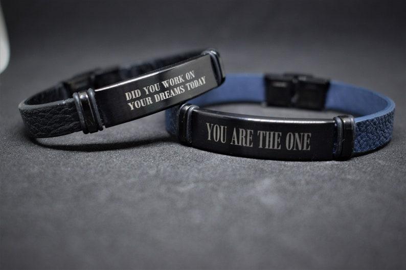Personalised bracelet for men Engraved leather bracelet Anniversary gift for him Mens bracelet