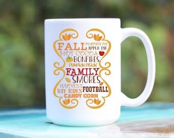 Fall Coffee Mug - Fall Lover Mug - Fall Theme Mug - Fall Bonfires Football Mug - All Things Fall Mug - I Love Fall Most Of All - Autumn Mug
