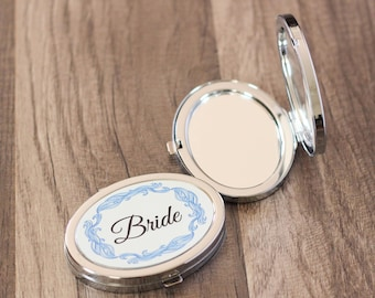Bridal Party Gift - Bride Compact Mirror - Bridesmaids Gift  - Maid of Honor Gift - Mother Of The Bride Gift - Custom Mirror