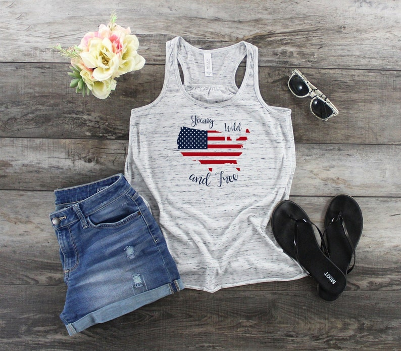 Young Wild And Free Tank Top  4th Of July Shirt  Patriotic image 0