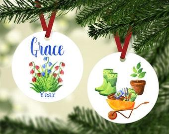 Gardening Ornament - Gardner Ornament - Personalized Gardening Ornament - Garden Ornament - Custom Garden Ornament - Green Thumb Gift