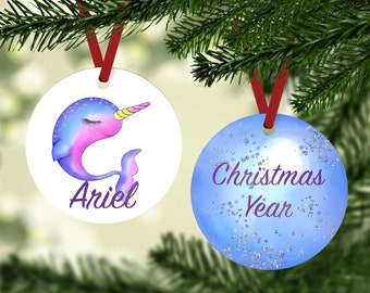 Narwhal Ornament - Personalized Narwhal Ornament - Sea Animals Ornament - Kids Ornament - Narwhal Personalized Ornament - Narwhal Gift