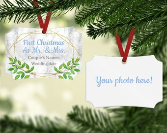 First Married Christmas Ornament - First Christmas Together Ornament - Couples Picture Ornament - First Christmas as Mr & Mrs Ornament