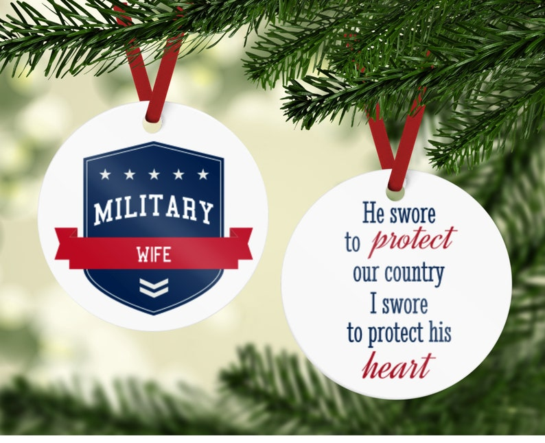 Military Spouse Ornament  Military Wife Ornament  He Swore image 0