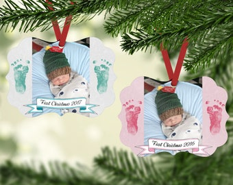 Baby's First Christmas Ornament - First Christmas - Photo Christmas Ornament -  Picture Ornament - Custom Ornament - New Baby Ornament