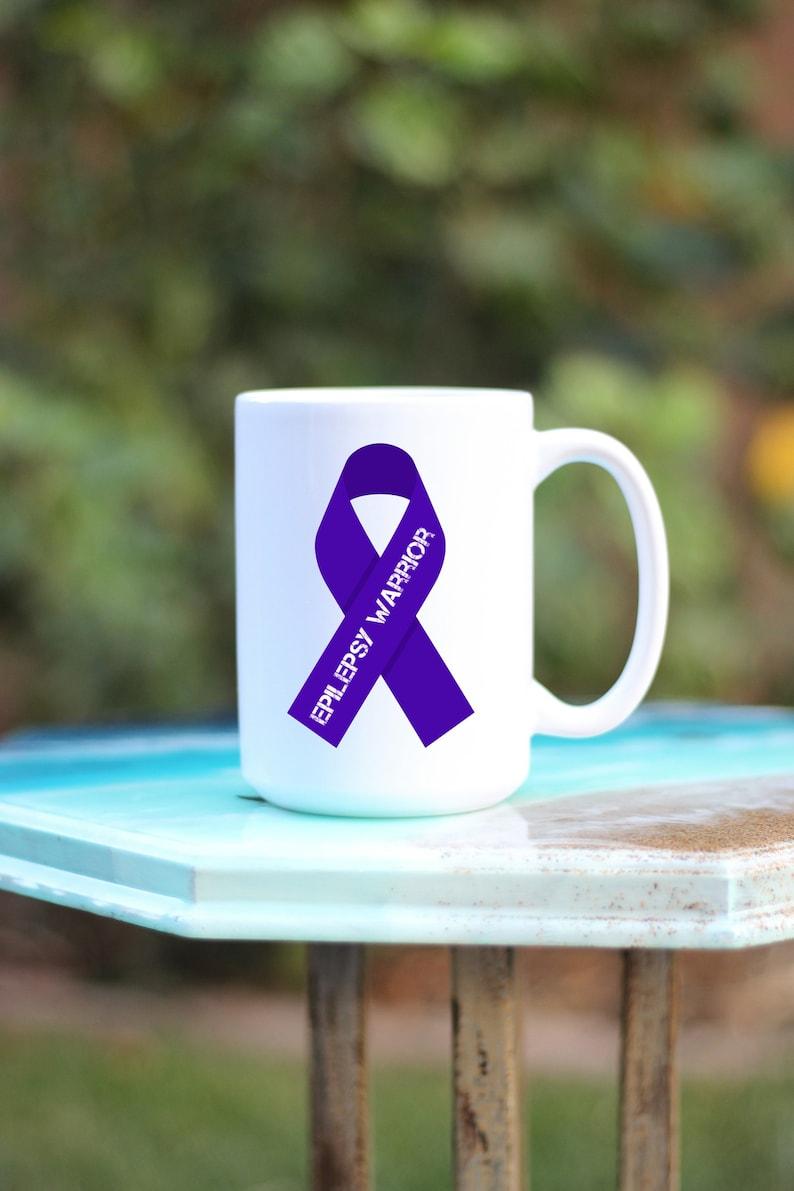 Epilepsy Ribbon Mug  Epilepsy Warrior Mug  Epilepsy Mug  image 0
