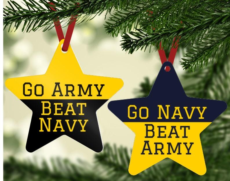 House Divided Army Navy Ornament  Go Army Ornament  Go Navy image 0