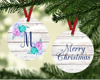 Floral Monogram Ornament - Family Ornament - Initial Ornament - Watercolor Ornament - Monogrammed Ornament - Personalized Christmas Ornament