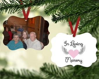 Memorial Ornament - Grandparent Ornament - In Loving Memory Ornament -  Lost Loved One Ornament - Gift For Someone Grieving - Photo Ornament
