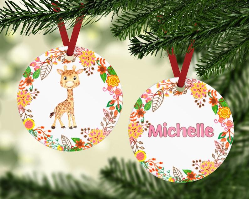 Giraffe Ornament  Watercolor Giraffe Ornament  Yearly Kids Pink
