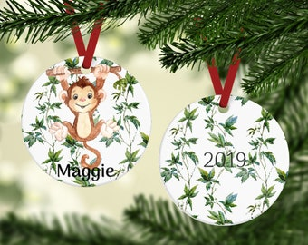 Hanging Monkey Ornament - Personalized Ornament - Kid's Ornament - Little Monkey Ornament - Stocking Stuffer - Custom Ornament - Kid's Gift