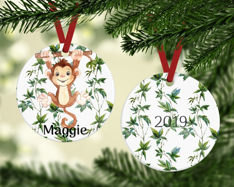 Hanging Monkey Ornament  Personalized Ornament  Kid's image 0