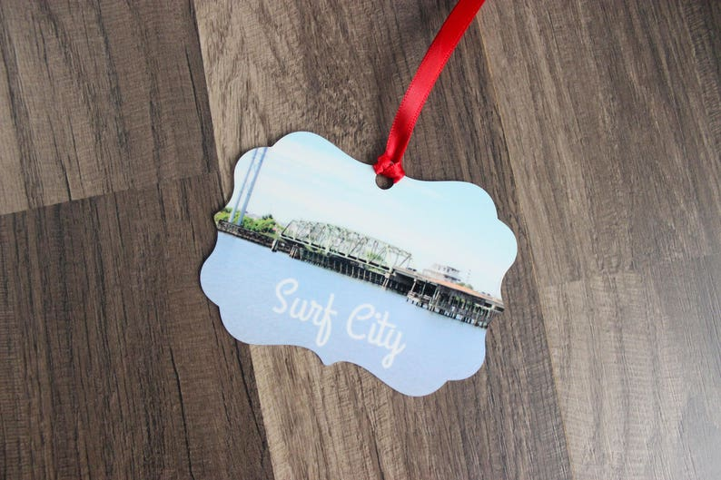 Surf City Swing Bridge Ornament  Topsail Island Ornament  image 0