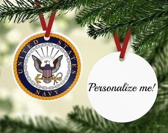 Navy Ornament - Navy Emblem Ornament - US Navy Gift- Retired Navy - Navy Retirement Gift - Custom Navy Gift