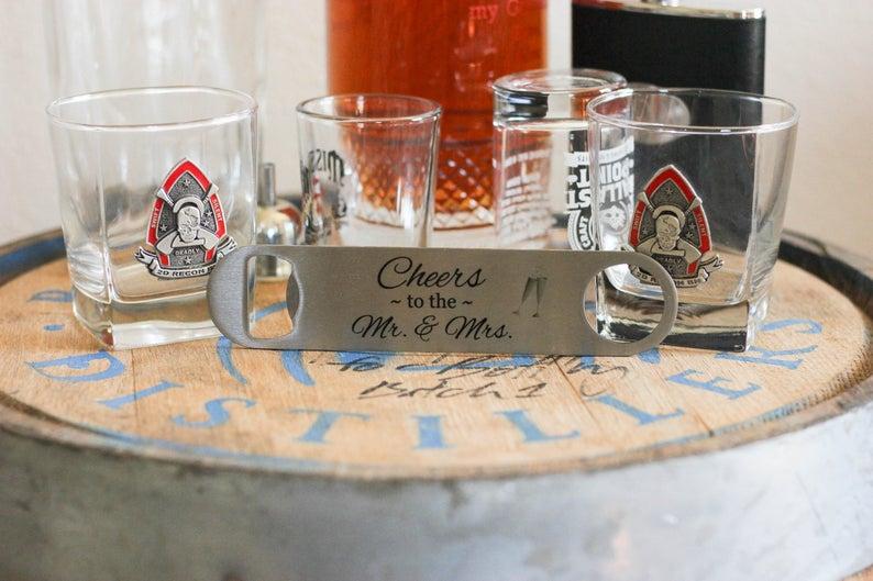 Personalized Wedding Gift  Wedding Bottle Opener  Cheers To image 0