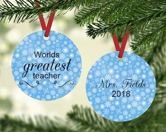 Worlds Greatest Teacher - Teacher Gift - Teacher Ornament - Teacher Christmas Gift - Custom Teacher Gift - Teacher Gift Under 15