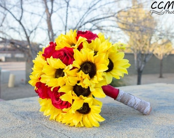 Sunflower Brides Bouquet with red roses