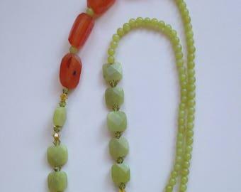 Jadeite and Carnelian Necklace