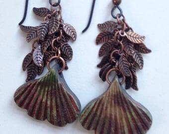 Raku Fired Fig Leaf Finding Earrings