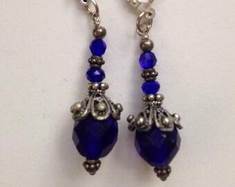 Royal Blue Drop Crystal Earrings