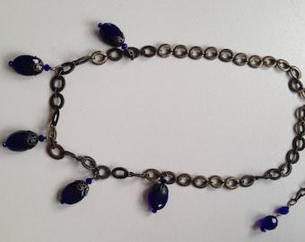 Deep Royal Blue Faceted Drops Necklace
