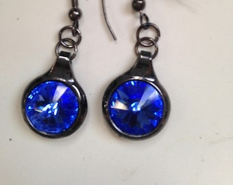 Blue Rivoli Crystal Earrings with Gunmetal Setting