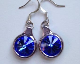 Blue Swarovski Rivoli Earrings