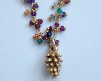 Gemstone Beaded Necklace with Cast Pinecone Pendant