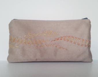 hand embroidered clutch bag, OOAK
