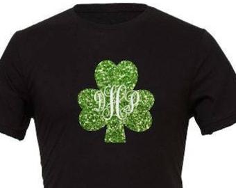 Monogrammed Shamrock T Shirt, St. Patrick Day T Shirt , St. Patty's Day Shirt , Personalized St Patrick T Shirt, St Patrick Day Date T Shirt