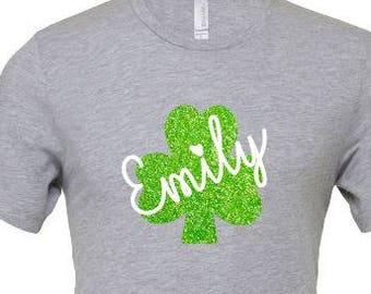 Glitter Shamrock T Shirt , Personalized St. Patrick T Shirt , St. Patrick Day T Shirt , St. Patty's Day Shirt , Funny St. Patrick Day Shirt