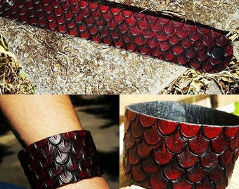 Dragon Scale Leather Bracelet