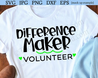 35967dd4 Difference Maker, Volunteer SVG jpg dxf png eps vector die cutting file  design, Silhouette Cameo Cricut, volunteer gift or coffee cup svg