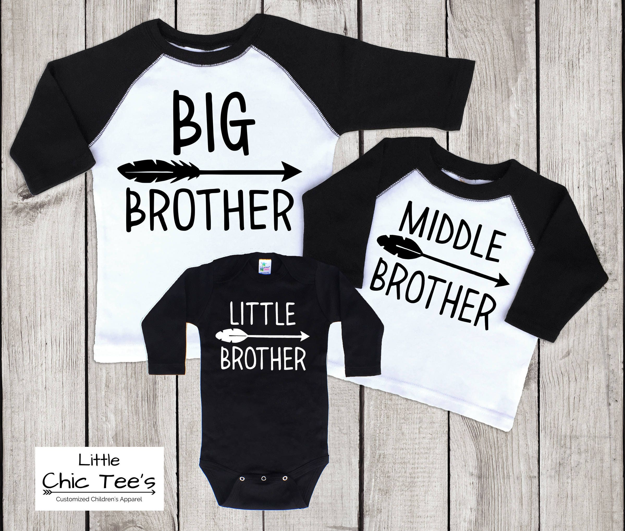 9f13f1915 Big Middle Little Matching Brother Shirts 3 sibling brother | Etsy