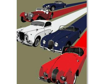 Classic Jaguars Card Birthday For DadGranddadBrotherFriendHusband Who Loves Cars