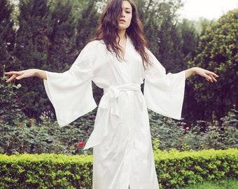 Luxury 100% pure mulberry silk long robe/ kimono/ bridal/ bridesmaid/ wedding/ sleepwear/ lingerie/ gift for her/ elegant/ after bath