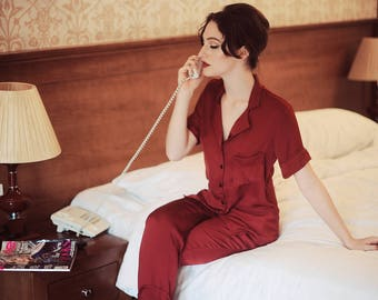 LelaSilk Signature Pyjamas/ Women Pajamas/ Burgundy pajamas sets/ Sleepwear/ Comfy Homewear/ Nightie /Christmas Gift/ For her