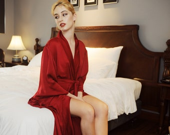 de0cb2f9ac04 Women Loose Silk robe  Wide Sleeves Kimonos  Peignoir  After bath Robe   Gift for her  Wedding  Bridal Robe  Bridesmaids  Sleepwear  Pajamas
